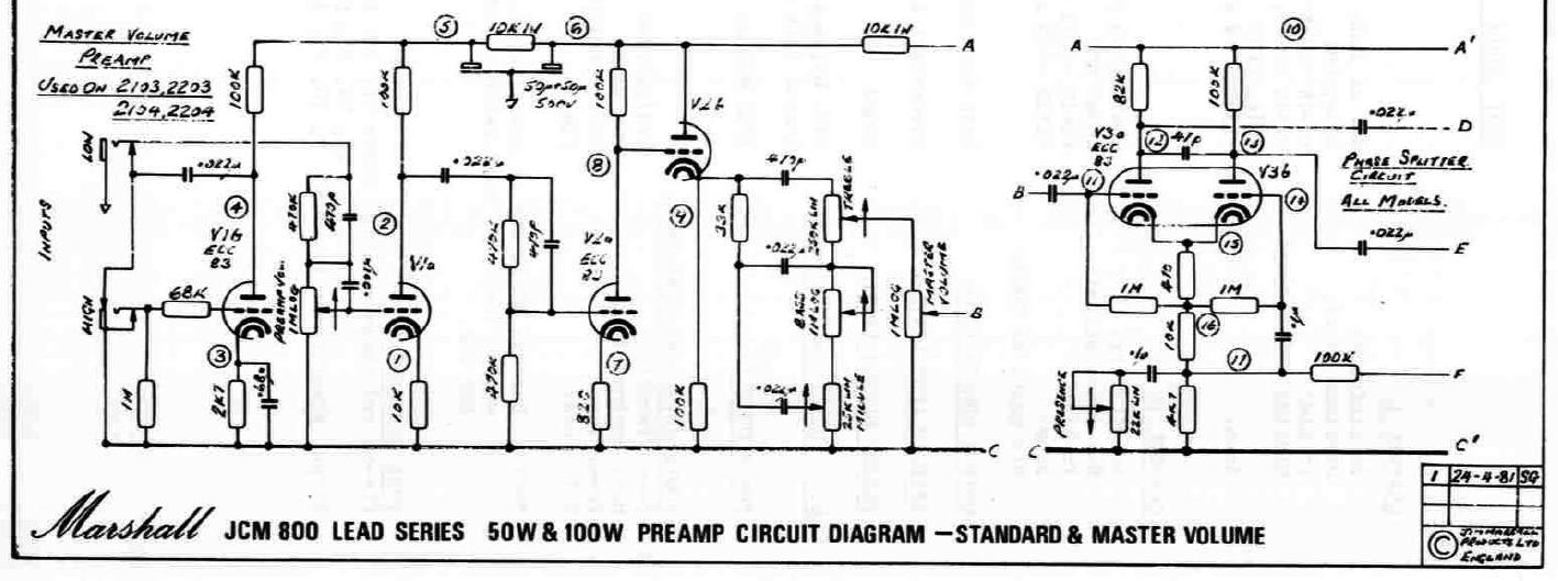 Marshall 2204 test points schematic